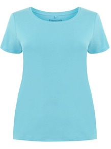 Aqua Blue Cotton T Shirt - neckline: round neck; pattern: plain; style: t-shirt; predominant colour: turquoise; occasions: casual, holiday; length: standard; fibres: cotton - 100%; fit: body skimming; sleeve length: short sleeve; sleeve style: standard; pattern type: fabric; pattern size: standard; texture group: jersey - stretchy/drapey