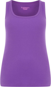 Purple Cotton Vest - pattern: plain; sleeve style: sleeveless; style: vest top; predominant colour: lilac; occasions: casual, holiday; length: standard; fibres: cotton - 100%; fit: body skimming; sleeve length: sleeveless; texture group: cotton feel fabrics; neckline: medium square neck; pattern type: fabric; pattern size: standard