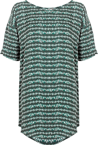 Petra Tunic Top, Spencer Green Spot - neckline: round neck; length: below the bottom; style: tunic; predominant colour: dark green; occasions: casual; fibres: viscose/rayon - 100%; fit: straight cut; sleeve length: short sleeve; sleeve style: standard; pattern type: fabric; pattern size: standard; pattern: patterned/print