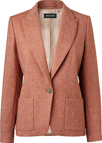 Tweed Jacket, Apricot - style: single breasted blazer; collar: standard lapel/rever collar; pattern: herringbone/tweed; predominant colour: terracotta; occasions: casual, evening, work; length: standard; fit: tailored/fitted; fibres: wool - 100%; waist detail: fitted waist; back detail: back vent/flap at back; sleeve length: long sleeve; sleeve style: standard; collar break: low/open; pattern type: fabric; pattern size: small & busy; texture group: woven light midweight