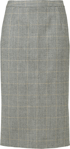 Check Split Skirt, Charcoal - length: below the knee; pattern: checked/gingham; style: pencil; fit: tailored/fitted; waist detail: fitted waist, narrow waistband; waist: high rise; predominant colour: light grey; occasions: work; fibres: wool - 100%; pattern type: fabric; pattern size: standard; texture group: woven light midweight