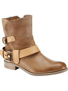 Hollyhock Buckle Ankle Boots, Tan - predominant colour: tan; occasions: casual; material: leather; heel height: flat; embellishment: buckles; heel: standard; toe: round toe; boot length: ankle boot; style: biker boot; finish: plain; pattern: plain