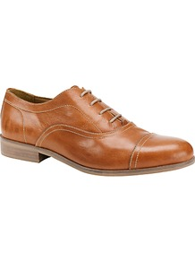 Violet Leather Lace Up Captoe Shoes, Tan - predominant colour: tan; occasions: casual, work; material: leather; heel height: mid; toe: round toe; style: brogues; finish: plain; pattern: plain