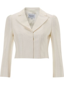 Invitation Paulina Jacket - pattern: plain; style: cropped; length: cropped; collar: standard lapel/rever collar; predominant colour: ivory; occasions: casual, evening, work, occasion; fit: tailored/fitted; fibres: wool - mix; sleeve length: long sleeve; sleeve style: standard; texture group: structured shiny - satin/tafetta/silk etc.; collar break: medium; pattern type: fabric; pattern size: standard