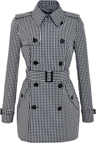 Short Checked Trench Coat, Black/New Vintage Ivory - length: below the bottom; style: double breasted; predominant colour: black; occasions: casual, evening, work; fit: tailored/fitted; fibres: polyester/polyamide - 100%; collar: shirt collar/peter pan/zip with opening; waist detail: belted waist/tie at waist/drawstring; pattern: dogtooth; sleeve length: long sleeve; sleeve style: standard; texture group: cotton feel fabrics; collar break: high; pattern type: fabric; pattern size: small &amp; light