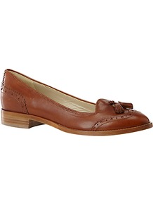 Charlie Leather Brogues - predominant colour: tan; occasions: casual, work; material: leather; heel height: flat; embellishment: embroidered, tassels; toe: round toe; style: loafers; finish: plain; pattern: plain
