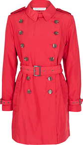 Cool It Down Trench Coat, Rococo - shoulder detail: obvious epaulette; style: double breasted; length: mid thigh; predominant colour: true red; occasions: casual, evening, work; fit: tailored/fitted; fibres: nylon - 100%; collar: shirt collar/peter pan/zip with opening; waist detail: belted waist/tie at waist/drawstring; back detail: back vent/flap at back; sleeve length: long sleeve; sleeve style: standard; collar break: high; pattern type: fabric; pattern size: standard; pattern: patterned/print; texture group: other - light to midweight