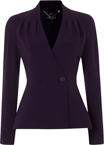 Cathy Jacket, Deep Purple - pattern: plain; style: single breasted blazer; collar: standard lapel/rever collar; predominant colour: purple; occasions: casual, evening, work; length: standard; fit: tailored/fitted; fibres: polyester/polyamide - stretch; waist detail: fitted waist; sleeve length: long sleeve; sleeve style: standard; collar break: medium; pattern type: fabric; pattern size: standard; texture group: woven light midweight