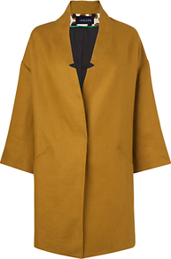 Linen Spring Coat, Gold - pattern: plain; collar: standard lapel/rever collar; length: mid thigh; predominant colour: gold; occasions: casual, evening, work, occasion; fit: straight cut (boxy); style: cocoon; fibres: linen - 100%; sleeve length: 3/4 length; sleeve style: standard; texture group: cotton feel fabrics; collar break: medium; pattern type: fabric; pattern size: standard