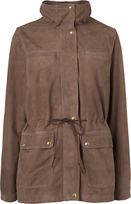 Suede Parka Coat, Taupe - pattern: plain; length: below the bottom; style: parka; collar: high neck; predominant colour: taupe; occasions: casual; fit: straight cut (boxy); fibres: leather - 100%; waist detail: belted waist/tie at waist/drawstring; sleeve length: long sleeve; sleeve style: standard; collar break: high; pattern type: fabric; pattern size: standard; texture group: suede