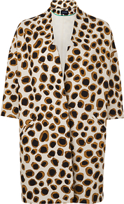 Leopard Spring Coat, Ivory - style: single breasted; collar: standard lapel/rever collar; length: mid thigh; predominant colour: tan; occasions: casual, evening, work, occasion; fit: tailored/fitted; fibres: silk - mix; sleeve length: 3/4 length; sleeve style: standard; texture group: cotton feel fabrics; collar break: low/open; pattern type: fabric; pattern size: small &amp; busy; pattern: animal print