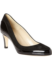 Ella Patent Leather And Suede Almond Toe Court Shoes, Black - predominant colour: black; occasions: evening, work, occasion; material: leather; heel height: mid; heel: standard; toe: pointed toe; style: courts; finish: patent; pattern: plain
