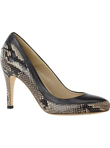 Helen Snakeskin Print Leather Almond Toe Court Shoes, Black - predominant colour: black; occasions: evening, work, occasion; material: leather; heel height: high; heel: stiletto; toe: round toe; style: courts; finish: plain; pattern: animal print, colourblock