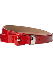 Forton Belt - predominant colour: true red; occasions: casual, evening, work; type of pattern: standard; style: classic; size: skinny; worn on: waist; material: leather; pattern: plain; finish: patent