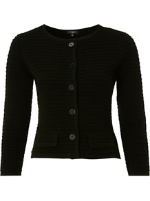 Venitia Jacket, Black - pattern: plain; style: single breasted blazer; bust detail: added detail/embellishment at bust; collar: round collar/collarless; fit: slim fit; predominant colour: black; occasions: casual, evening, work; length: standard; fibres: wool - mix; sleeve length: 3/4 length; sleeve style: standard; texture group: knits/crochet; collar break: high; pattern type: knitted - fine stitch; pattern size: standard