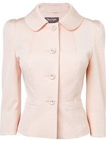 Darcy Ottoman Jacket, Pink - pattern: plain; style: single breasted blazer; collar: standard lapel/rever collar; predominant colour: blush; occasions: casual, evening, work, occasion; length: standard; fit: tailored/fitted; fibres: polyester/polyamide - stretch; waist detail: fitted waist; sleeve length: 3/4 length; sleeve style: standard; collar break: high; pattern type: fabric; pattern size: standard; texture group: woven light midweight