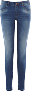 Skinny Jeans, Dark Wash Denim - style: skinny leg; length: standard; pattern: plain; pocket detail: traditional 5 pocket; waist: mid/regular rise; predominant colour: denim; occasions: casual; fibres: cotton - stretch; jeans detail: whiskering, shading down centre of thigh, dark wash, washed/faded; texture group: denim; pattern type: fabric; pattern size: standard