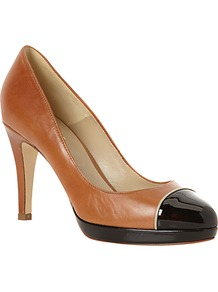 Florence Patent Toecap Leather Platform Court Shoes, Tan/Black - predominant colour: tan; occasions: evening, work, occasion; material: leather; heel height: high; heel: stiletto; toe: round toe; style: courts; finish: plain; pattern: two-tone, colourblock; embellishment: toe cap