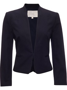 Camellia Jacket, Navy - pattern: plain; style: single breasted blazer; collar: standard lapel/rever collar; predominant colour: navy; occasions: evening, work, occasion; length: standard; fit: tailored/fitted; fibres: cotton - 100%; waist detail: fitted waist; sleeve length: long sleeve; sleeve style: standard; collar break: low/open; pattern type: fabric; pattern size: standard; texture group: other - light to midweight