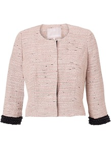 Sophia Jacket, Pale Pink - pattern: plain; collar: round collar/collarless; style: boxy; predominant colour: blush; occasions: casual, evening, work; length: standard; fit: straight cut (boxy); fibres: cotton - mix; sleeve length: 3/4 length; sleeve style: standard; collar break: high; pattern type: fabric; pattern size: standard; texture group: tweed - light/midweight
