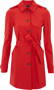 Blackheath Mac, Poppy - pattern: plain; hip detail: side pockets at hip; style: mac; fit: slim fit; length: mid thigh; predominant colour: true red; occasions: casual, evening, work; fibres: polyester/polyamide - 100%; collar: shirt collar/peter pan/zip with opening; waist detail: fitted waist, belted waist/tie at waist/drawstring; shoulder detail: discreet epaulette; back detail: back vent/flap at back; sleeve length: long sleeve; sleeve style: standard; collar break: high; pattern type: fabric; pattern size: standard; texture group: other - light to midweight