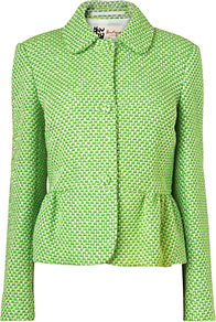 Emma Tweed Jacket, Bright Green - pattern: plain; style: single breasted blazer; collar: standard lapel/rever collar; predominant colour: lime; occasions: casual, evening, work; length: standard; fit: tailored/fitted; fibres: acrylic - mix; waist detail: peplum detail at waist; sleeve length: long sleeve; sleeve style: standard; collar break: high; pattern type: fabric; texture group: tweed - light/midweight