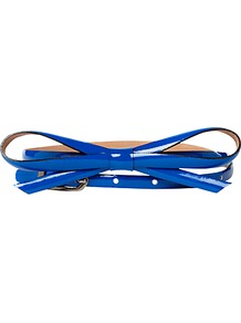 Hassop Belt, Sea Blue - predominant colour: royal blue; occasions: casual, evening, work, holiday; type of pattern: standard; style: classic; size: skinny; worn on: waist; material: leather; pattern: plain; finish: patent; embellishment: bow