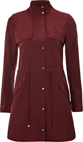 Lupin Parka Coat, Black Cherry - pattern: plain; hip detail: side pockets at hip; style: parka; collar: high neck; fit: slim fit; length: mid thigh; predominant colour: burgundy; occasions: casual, work; fibres: polyester/polyamide - 100%; waist detail: belted waist/tie at waist/drawstring; back detail: back vent/flap at back; sleeve length: long sleeve; sleeve style: standard; collar break: high; pattern type: fabric; pattern size: standard; texture group: other - light to midweight