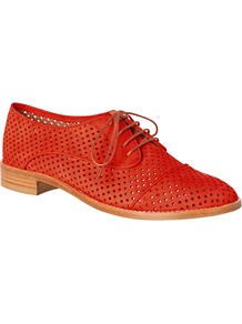 Felix Nubuck Cut Out Detail Brogues - predominant colour: bright orange; occasions: casual, work; material: suede; heel height: flat; toe: round toe; style: brogues; finish: plain; pattern: patterned/print, plain