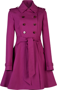 Double Breasted Trench Coat, Fuchsia - pattern: plain; style: trench coat; length: mid thigh; predominant colour: magenta; occasions: casual, evening, work, occasion; fit: tailored/fitted; collar: shirt collar/peter pan/zip with opening; waist detail: belted waist/tie at waist/drawstring; shoulder detail: discreet epaulette; sleeve length: long sleeve; sleeve style: standard; texture group: cotton feel fabrics; collar break: high/illusion of break when open; pattern type: fabric; pattern size: standard; fibres: cashmere - stretch