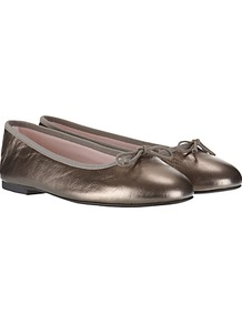 Leather Ballet Pumps - predominant colour: silver; occasions: casual, evening, work, holiday; material: leather; heel height: flat; toe: round toe; style: ballerinas / pumps; trends: metallics; finish: metallic; pattern: plain; embellishment: bow
