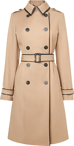 Kiki Leather Trim Trench Coat, Camel - style: trench coat; length: on the knee; predominant colour: camel; occasions: casual, work; fit: tailored/fitted; fibres: cotton - stretch; collar: shirt collar/peter pan/zip with opening; waist detail: belted waist/tie at waist/drawstring; shoulder detail: discreet epaulette; sleeve length: long sleeve; sleeve style: standard; collar break: high/illusion of break when open; pattern size: standard; texture group: woven light midweight