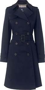 Lana Rain Coat - pattern: plain; style: trench coat; length: on the knee; collar: standard lapel/rever collar; predominant colour: navy; occasions: casual, work; fit: tailored/fitted; fibres: polyester/polyamide - mix; waist detail: belted waist/tie at waist/drawstring; shoulder detail: discreet epaulette; sleeve length: long sleeve; sleeve style: standard; collar break: medium; pattern type: fabric; texture group: woven light midweight