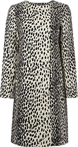 Dalmation Print Mac - collar: round collar/collarless; style: mac; length: mid thigh; predominant colour: charcoal; occasions: casual, evening, work, occasion; fit: straight cut (boxy); fibres: linen - mix; sleeve length: long sleeve; sleeve style: standard; texture group: cotton feel fabrics; collar break: high; pattern type: fabric; pattern size: big & busy; pattern: animal print