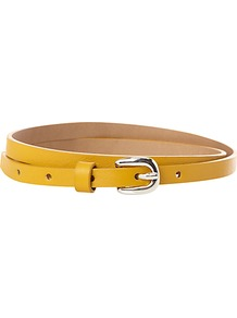 Atley Belt - predominant colour: mustard; occasions: casual, evening, work; type of pattern: standard; style: classic; size: skinny; worn on: waist; material: leather; pattern: plain; finish: plain