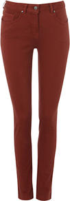 Nw3 Hobbs Skinny Jeans - style: skinny leg; length: standard; pattern: plain; pocket detail: traditional 5 pocket; waist: mid/regular rise; predominant colour: terracotta; occasions: casual, evening; fibres: cotton - stretch; jeans detail: dark wash; texture group: denim; pattern type: fabric; pattern size: standard