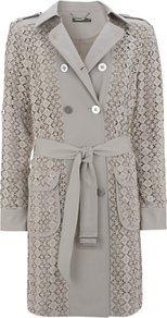 Lace Trench Coat - style: trench coat; length: mid thigh; predominant colour: light grey; occasions: casual, evening, work, occasion; fit: straight cut (boxy); fibres: polyester/polyamide - mix; collar: shirt collar/peter pan/zip with opening; waist detail: belted waist/tie at waist/drawstring; shoulder detail: discreet epaulette; sleeve length: long sleeve; sleeve style: standard; texture group: lace; collar break: high/illusion of break when open; pattern type: fabric; pattern size: standard; pattern: patterned/print