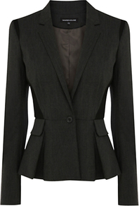 Panelled Work Wear Jacket - pattern: plain; style: single breasted blazer; collar: standard lapel/rever collar; predominant colour: charcoal; occasions: evening, work; length: standard; fit: tailored/fitted; fibres: polyester/polyamide - stretch; waist detail: peplum detail at waist; sleeve length: long sleeve; sleeve style: standard; collar break: medium; pattern type: fabric; texture group: woven light midweight