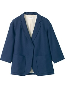 Belle Cotton Blend Textured Jacket, True Navy - pattern: plain; style: single breasted blazer; collar: standard lapel/rever collar; predominant colour: navy; occasions: casual, work; length: standard; fit: straight cut (boxy); fibres: cotton - mix; sleeve length: 3/4 length; sleeve style: standard; texture group: cotton feel fabrics; collar break: low/open; pattern type: fabric
