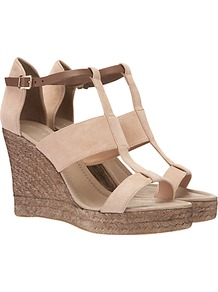 Wide Strap Wedge Espadrilles - predominant colour: stone; occasions: casual, holiday; material: suede; heel height: high; embellishment: buckles; ankle detail: ankle strap; heel: wedge; toe: open toe/peeptoe; style: standard; finish: plain; pattern: plain
