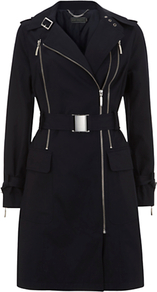 Double Zip Trench Coat - pattern: plain; style: trench coat; collar: standard lapel/rever collar; length: mid thigh; predominant colour: black; occasions: casual, evening, work; fit: tailored/fitted; fibres: polyester/polyamide - 100%; waist detail: belted waist/tie at waist/drawstring; sleeve length: long sleeve; sleeve style: standard; collar break: medium; pattern type: fabric; pattern size: standard; texture group: woven light midweight