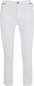 Smart Cropped Jeans - style: straight leg; pattern: plain; pocket detail: traditional 5 pocket; waist: mid/regular rise; predominant colour: white; occasions: casual, evening, holiday; length: ankle length; fibres: cotton - stretch; jeans & bottoms detail: turn ups; texture group: denim; pattern type: fabric; pattern size: standard