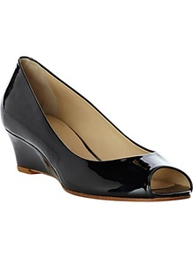 Nina Patent Sandal - predominant colour: black; occasions: evening, work; material: leather; heel height: mid; heel: wedge; toe: open toe/peeptoe; style: courts; finish: patent; pattern: plain