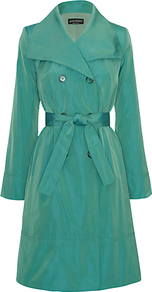Taffeta Trench Coat - pattern: plain; collar: wide lapels; style: trench coat; predominant colour: emerald green; occasions: casual, evening, work, occasion; fit: tailored/fitted; fibres: polyester/polyamide - 100%; length: below the knee; waist detail: belted waist/tie at waist/drawstring; sleeve length: long sleeve; sleeve style: standard; texture group: structured shiny - satin/tafetta/silk etc.; collar break: medium; pattern type: fabric; pattern size: standard