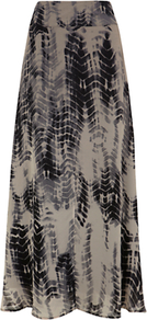 Lizzie Print Maxi Skirt - fit: body skimming; waist detail: wide waistband/cummerbund; hip detail: fitted at hip; waist: mid/regular rise; predominant colour: black; occasions: casual, evening, work, holiday; length: floor length; style: maxi skirt; fibres: viscose/rayon - 100%; pattern type: fabric; pattern size: big & busy; pattern: patterned/print; texture group: jersey - stretchy/drapey