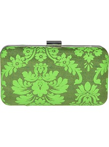 Jessie Brocade Clutch - predominant colour: lime; occasions: evening, occasion; type of pattern: heavy; style: clutch; length: hand carry; size: small; material: fabric; trends: statement prints, fluorescent; finish: plain; pattern: patterned/print; embellishment: chain/metal