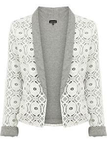 Jersey Lined Lace Jacket - style: single breasted blazer; collar: shawl/waterfall; predominant colour: white; secondary colour: mid grey; occasions: casual, evening, work, holiday; length: standard; fit: tailored/fitted; fibres: cotton - mix; sleeve length: 3/4 length; sleeve style: standard; collar break: low/open; pattern type: fabric; pattern size: small & light; pattern: patterned/print; texture group: other - light to midweight; embellishment: lace