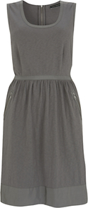 Utility Dress - style: shift; neckline: round neck; fit: fitted at waist; pattern: plain; sleeve style: sleeveless; hip detail: front pockets at hip; waist detail: twist front waist detail/nipped in at waist on one side/soft pleats/draping/ruching/gathering waist detail; predominant colour: mid grey; occasions: casual, work; length: just above the knee; fibres: cotton - 100%; sleeve length: sleeveless; texture group: jersey - stretchy/drapey