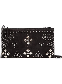 Studded Suede Clutch Handbag, Black - predominant colour: black; occasions: evening, occasion; type of pattern: large; style: clutch; length: hand carry; size: small; material: suede; embellishment: studs; pattern: plain; finish: plain