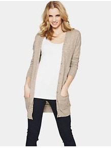 Petite Boyfriend Cardigan, Black - neckline: low v-neck; pattern: plain; length: below the bottom; predominant colour: mid grey; occasions: casual, work; style: standard; fibres: cotton - mix; fit: loose; sleeve length: long sleeve; sleeve style: standard; texture group: knits/crochet; pattern type: knitted - fine stitch